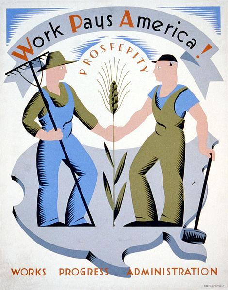 WPA poster encouraging laborers to work for America